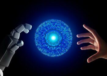 masa depan ai, teknologi digital, wa web, ib bri, bisnis membuat watermark - human hand and robot hand with hud circle interface and binary number code on black screen background t20 AVANJV 350x250 - 7 Aplikasi Membuat Watermark di Foto Terbaik 2021