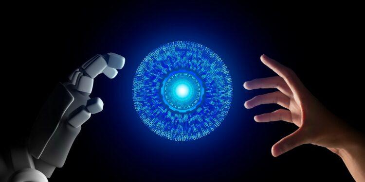 masa depan ai, teknologi digital, wa web, ib bri, bisnis masa depan teknologi ai - human hand and robot hand with hud circle interface and binary number code on black screen background t20 AVANJV 750x375 - Masa Depan dan Dampak Teknologi AI Bagi Kehidupan