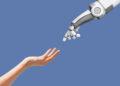 keuntungan kerugian ai hp samsung murah buat main pubg - human hand and robot hand with empty space on blue FSWGCZT 120x86 - 5 HP Samsung Murah Buat Main PUBG Terbaik 2021