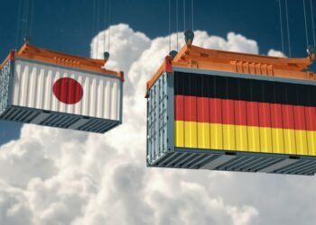 Jalur Distribusi Ekspor pemasaran produk ke tiongkok - two freight container with german and japan flag design freight transportation goods import t20 VL038b 350x250 - Tips Marketing dan Pemasaran Produk ke Tiongkok
