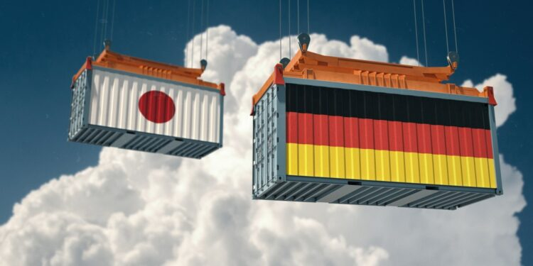 Jalur Distribusi Ekspor jalur distribusi ekspor - two freight container with german and japan flag design freight transportation goods import t20 VL038b 750x375 - Tips Jalur Distribusi Ekspor