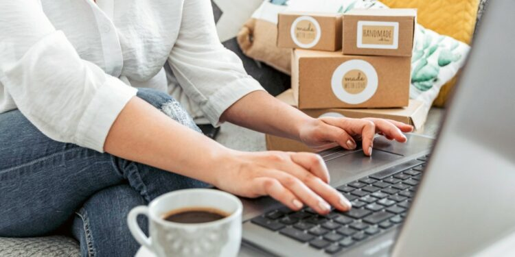 ingin produknya menembus pasar ekspor? siapkan ini! - young woman working on laptop from home woman with her own online business online shopping one person t20 YEo0WO 750x375 - Ingin Produknya Menembus Pasar Ekspor? Siapkan Ini!